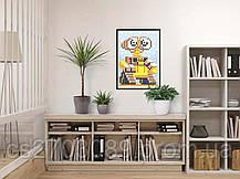 """*Картина по номерам стикерами в тубусе """"Робот жёлтый"""", 33х48см, 1200 стикеров., фото 3"""