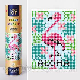 "*Картина по номерам стикерами в тубусе ""Фламинго"", 33х48см, 1200 стикеров."
