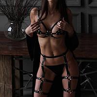 Комплект портупей из кожи верх и низ портупея женская на грудь кожа эко и пояс гартеры портупея на ножки