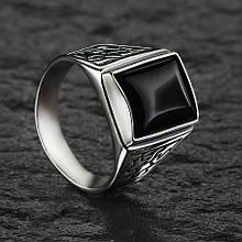 Перстень мужской с черным ониксом 21 размер Selenit 15069