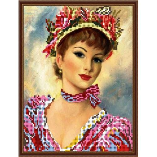 Вышивка бисером, Канва Дамы Леди в розовом