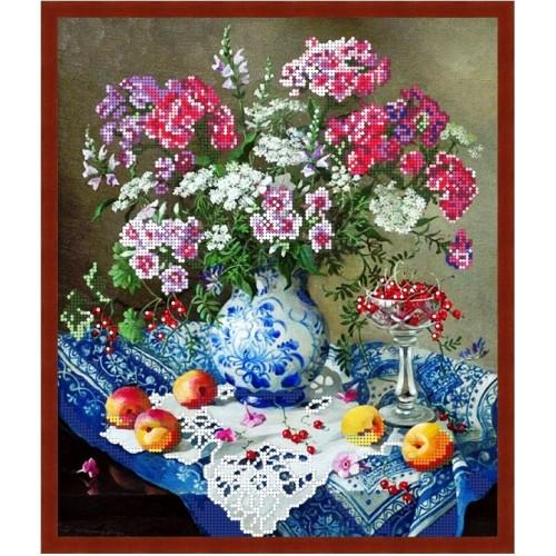 Вишивка квіти бісером,Канва схеми натюрморт Літні квіти