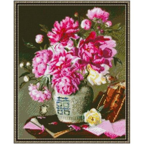 Вышивка бисером, Канва схемы Пионы Натюрморт с цветами