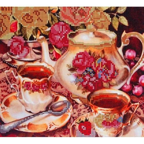 Вышивка цветы бисером,Канва схемы натюрморт Чаепитие
