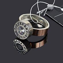 Серебряное крупное кольцо Булгари с золотом 16.5 размер 009.01к