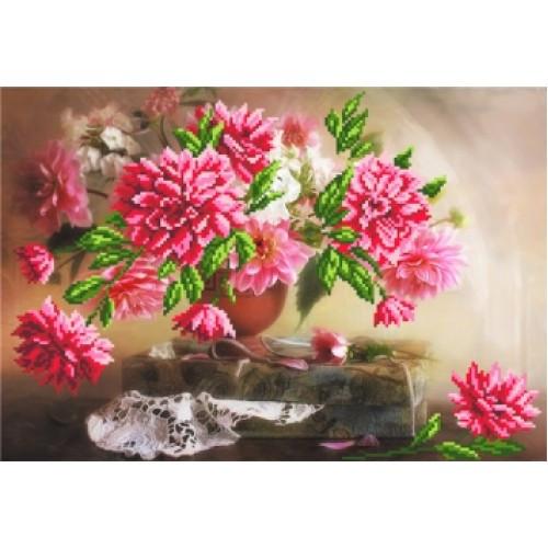 Канва для вышивания бисером цветы Матренин Посад Георгины