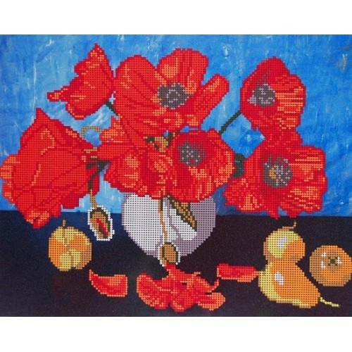 Вышивка бисером, Канва цветы  Маки