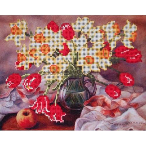 Вышивка бисером, Канва схема цветы натюрморт Нарциссы и тюльпаны