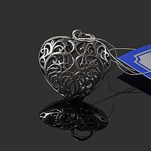 Серебряная подвеска Сердце ажурное большое Премиум 3414