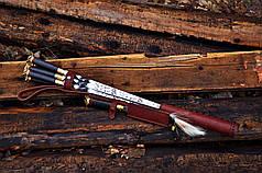"""Авторські шампури з лазерним гравіруванням """"Індіанці"""" (16мм) і шашлична вилка, в сагайдаку зі шкіри, фото 3"""