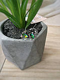 Серебряные серьги пусеты Кубик Swarovski прозрачный хамелеон 5782-р VM, фото 3