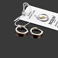 Серьги кольца из серебра с золотыми накладками BIGSUN 891