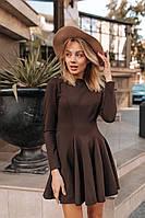 Женское короткое расклешенное платье шоколадного цвета
