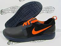 Кроссовки мужские Nike кожаные, тёмно-синие с оранжевым