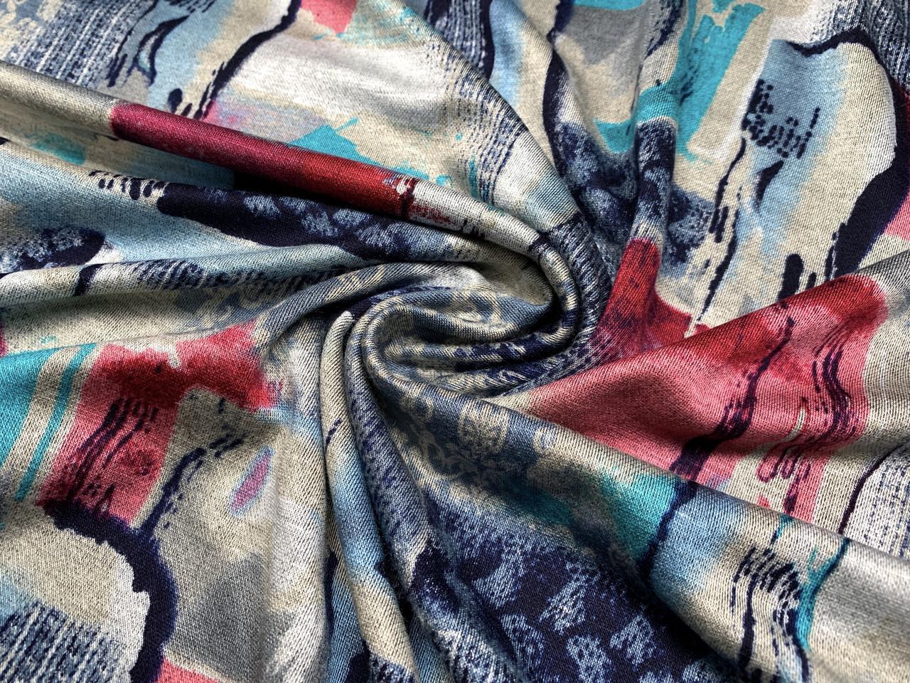 Трикотаж вискозный двусторонний микс орнаментов, бирюзово-серый