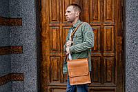 Мужская сумка мессенджер, Коричневая кожаная сумка через плечо, фото 1