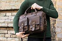Коричневая мужская сумка BAFFETT, Кожаная сумка мессенджер, фото 1