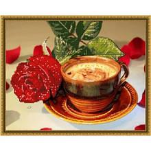 Вишивка квіти бісером,Канва схеми натюрморт Кавова троянда