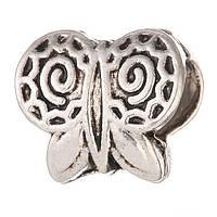 Бусина Pandora бабочка (Пандора) посеребренная P2908010