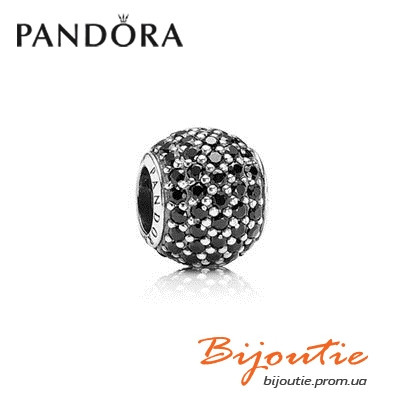 Pandora Шарм Pave ЧЕРНЫЙ ШАР ПАВЕ серебро 925 Пандора оригинал