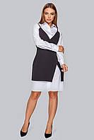 Костюм 19-86 платье-рубашка и приталенный сарафан черный