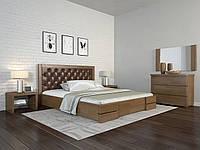 Двоспальне ліжко Арбор Древ Регіна Люкс ромб 160х200 сосна (RDL160) Оббивка білий колір (BOSTON 26) Горіх