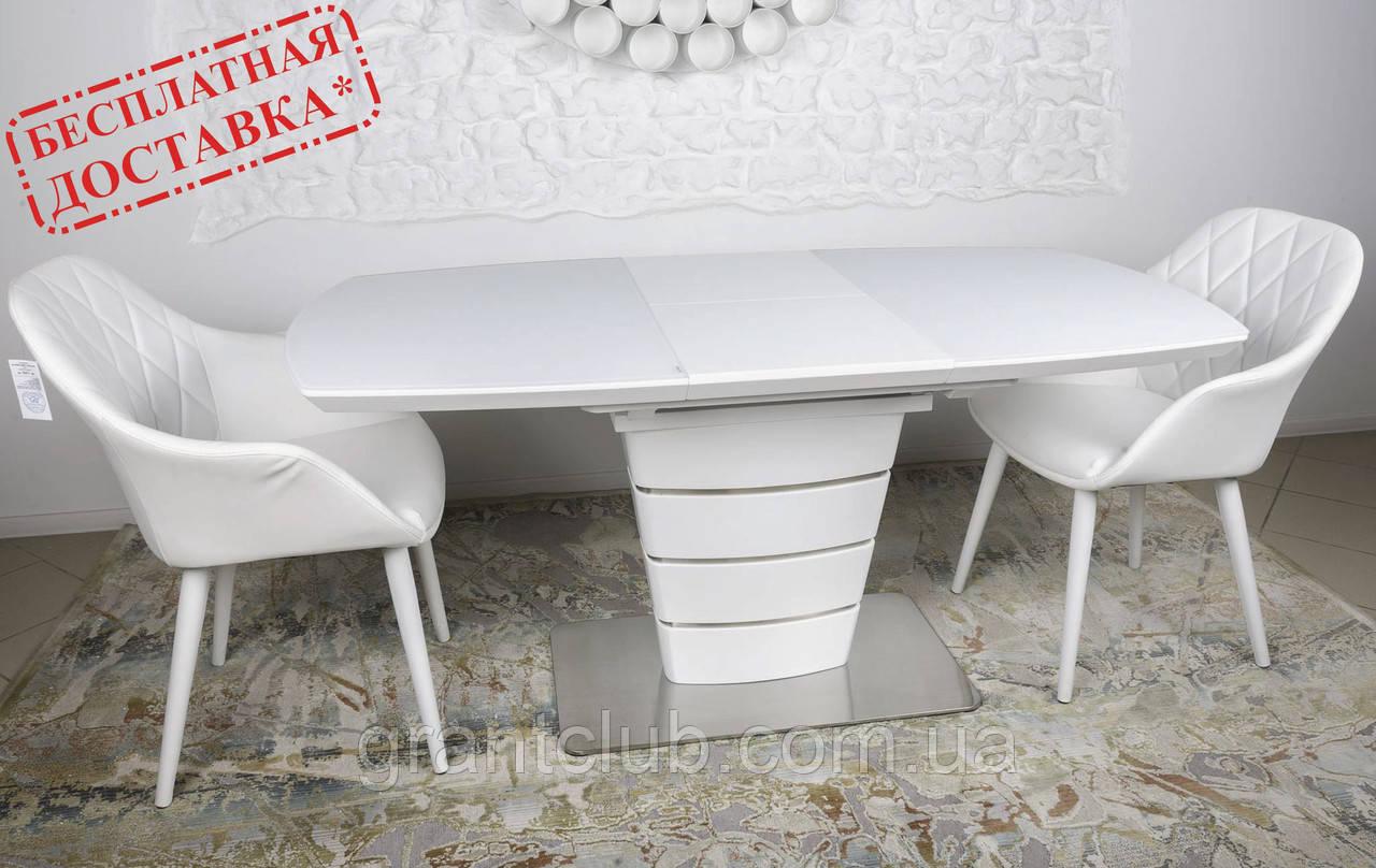 Раскладной стеклянный стол ATLANTA 120/160х80 белый Nicolas (бесплатная доставка)