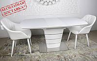 Раскладной стеклянный стол ATLANTA 120/160х80 белый Nicolas (бесплатная доставка), фото 1