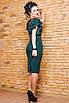 Вечернее трикотажное платье с рукавами воланами, размеры: 42, 44, 46, 48, бордовый, бутылка, темно-синий, фото 3