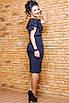Вечернее трикотажное платье с рукавами воланами, размеры: 42, 44, 46, 48, бордовый, бутылка, темно-синий, фото 5
