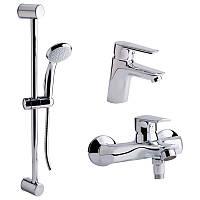 Набор смесителей для умывальника, ванны и душевая стойка с латунь-литой, врезной/настенный от производителя Q-tap, серий Set CRM 35-311( Одно рычажные
