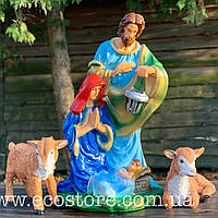 Вертеп (Дева Мария,Йосиф, Исус и два ягненка)