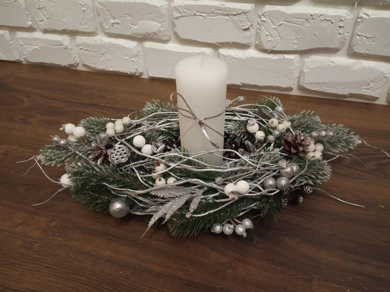Композиція Новорічна зі свічкою на стіл, Різдвяна свічка. Підсвічник Новорічний, Різдвяний зі свічкою,