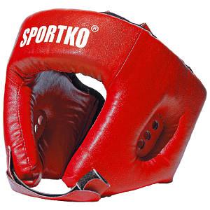 Боксерский защитный шлем открытый (кожвинил).КРАСНЫЙ.