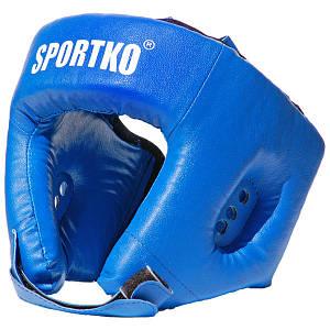 Защитный боксерский шлем открытый (кожвинил).СИНИЙ.