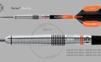 Дротики steel Harrows VERVE Англия вольфрам 90% 22 грамма, фото 3