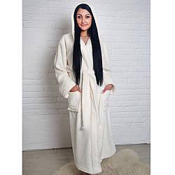 Длинный женский махровый халат на запах (L, XL, 2XL) белый