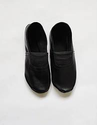 Черные кожаные чешки для танцев детские и взрослые стопа от 16 до 22 см