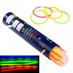 Світлові неонові палички браслети ХІС глоустик 100шт
