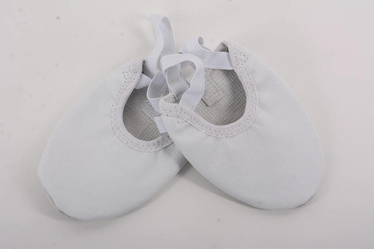 Кожаные белые получешки для танцев детские и взрослые  Rivage Line
