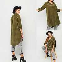 женское платье-рубашка цвета хакки вельвет