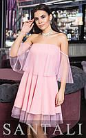 Платье из сетки в принт с открытыми плечами и воланом 45PL754