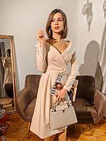 Платье из костюмки с спущенными плечами и верхом на запах 14PL768, фото 1