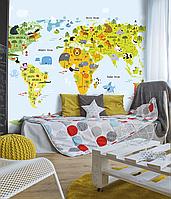 Детское панно карта мира в комнату на стену милые животные дизайнерское Kids Map 155 см х 250 см