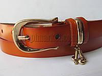"""Ремень женский коричневый(кожа, 20 мм.) №М18592 """"Remen"""" LM-638"""