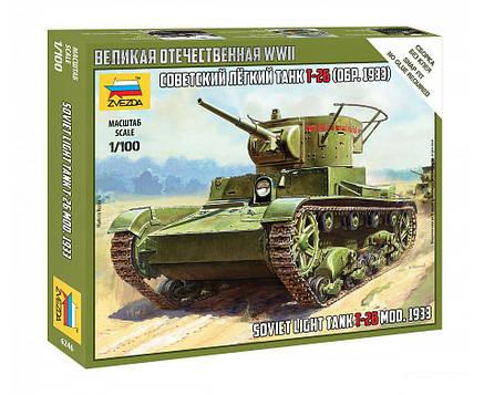 T-26 Советский лёгкий танк образца 1933 г. Сборная модель. 1/100 ZVEZDA 6246, фото 2