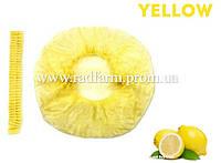 Шапочка одноразовая желтая нетканая (спанбонд) на резинке Polix PRO&MED™ (100 шт/уп)