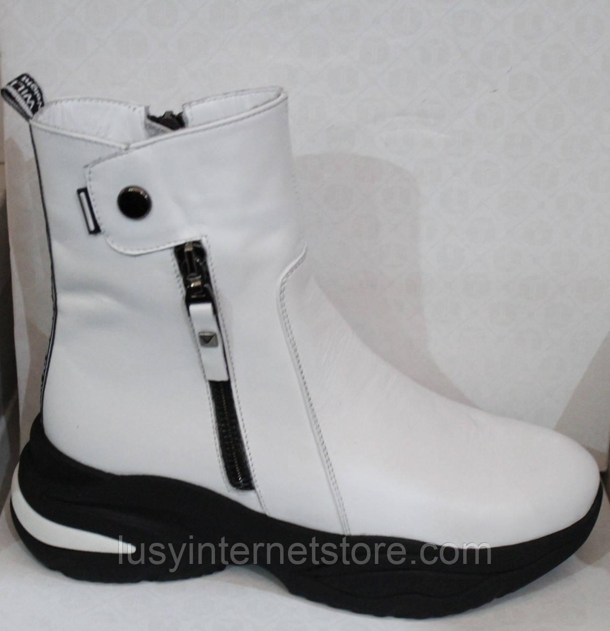 Ботинки женские белые демисезонные кожаные от производителя модель БМ1112