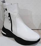 Ботинки женские белые демисезонные кожаные от производителя модель БМ1112, фото 2