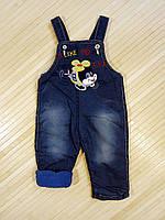Детская одежда оптом Турция Комбинезон джинсовый  утеплённый (махра) р. 6-12мес., фото 1
